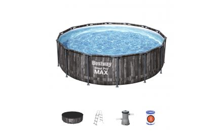 14ft Steel Pro Max Grey Wooden Round Pool