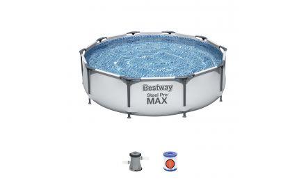 10ft Grey Steel Pro Max Round Pool Set