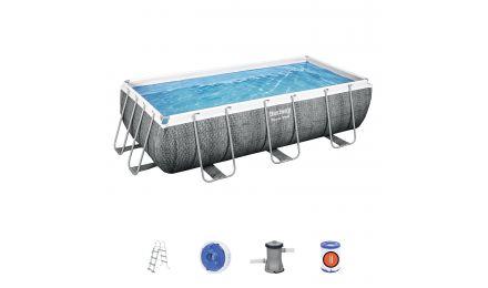 "13ft 3"" Power Steel Rattan Rectangular Pool Set"