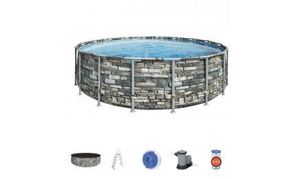 18ft Power Steel Stone Round Pool Set