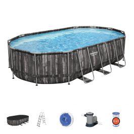 20ft Power Steel Wood Panel Print Oval Pool Set