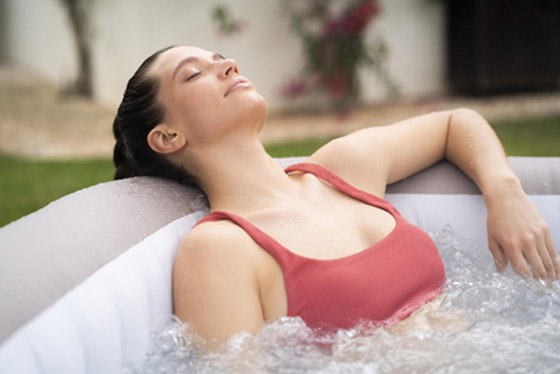 Relaxing in a Portable Spa